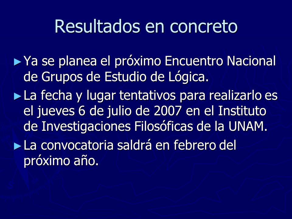 Resultados en concreto Ya se planea el próximo Encuentro Nacional de Grupos de Estudio de Lógica.