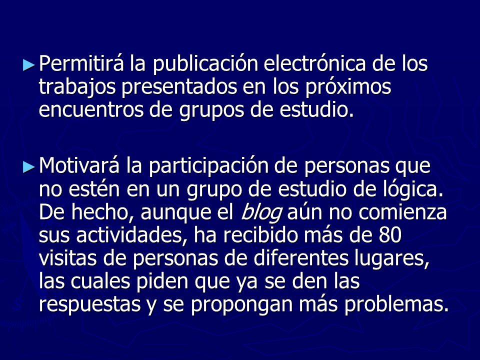 Permitirá la publicación electrónica de los trabajos presentados en los próximos encuentros de grupos de estudio.