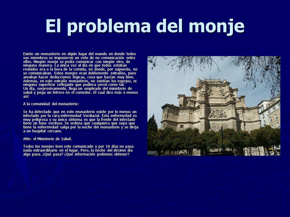 El problema del monje Existe un monasterio en algún lugar del mundo en donde todos sus miembros se impusieron un voto de no comunicación entre ellos.