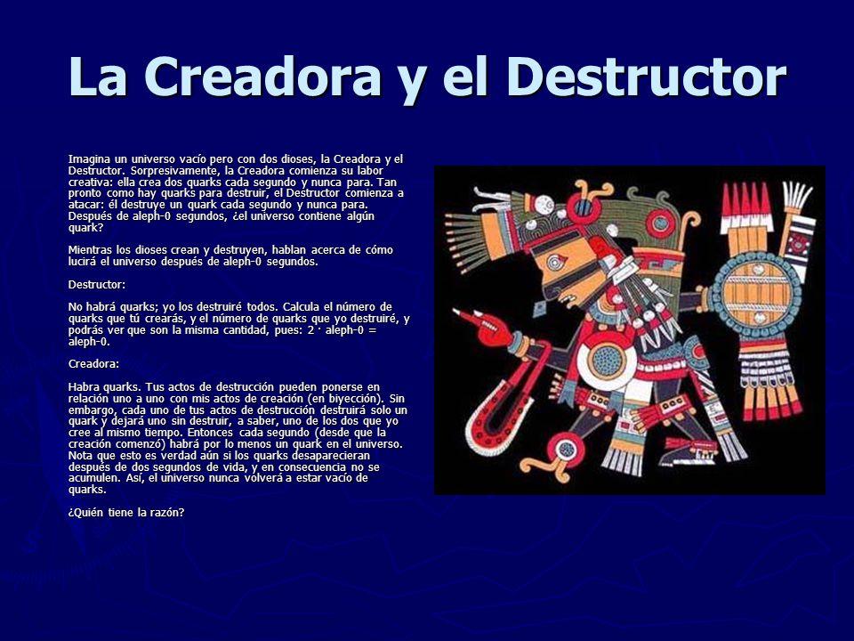 La Creadora y el Destructor Imagina un universo vacío pero con dos dioses, la Creadora y el Destructor.
