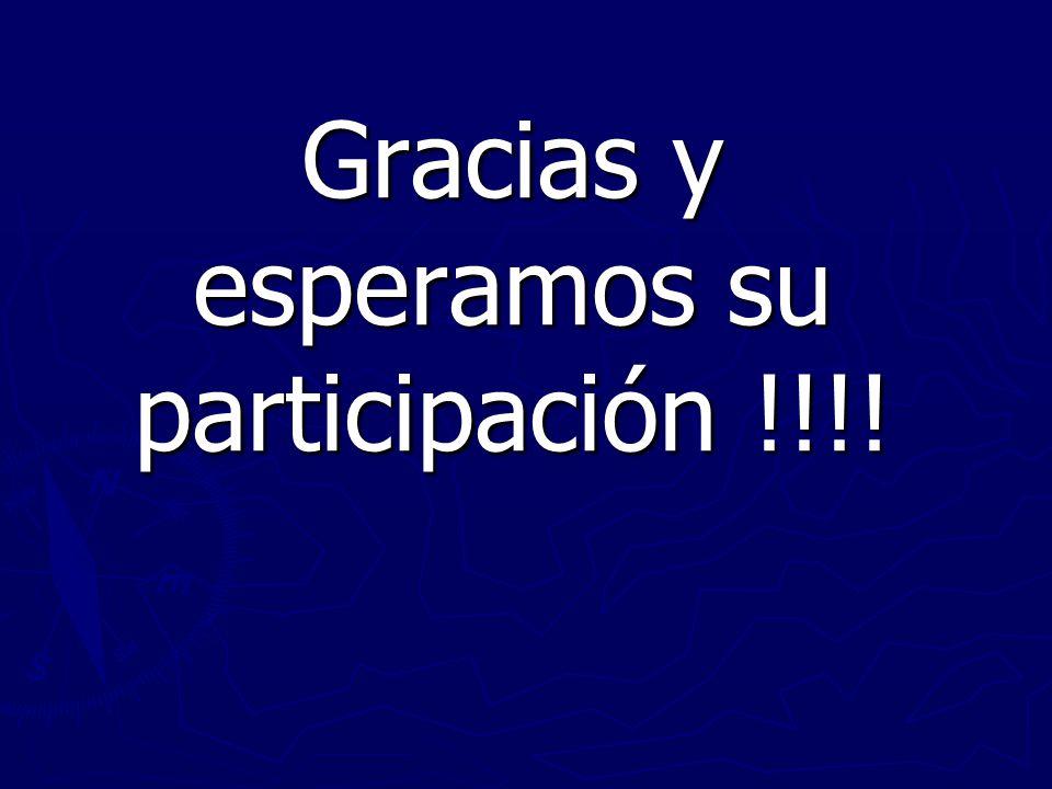 Gracias y esperamos su participación !!!!