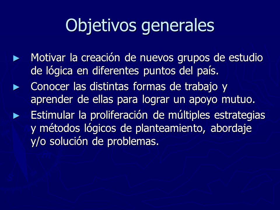 Objetivos generales Motivar la creación de nuevos grupos de estudio de lógica en diferentes puntos del país.