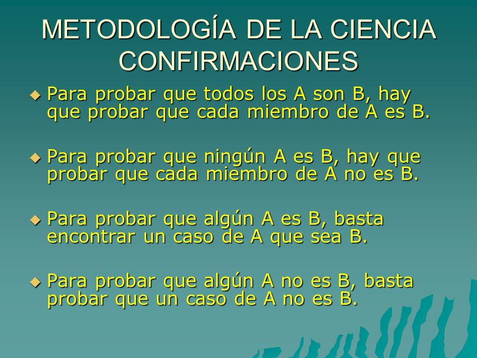 METODOLOGÍA DE LA CIENCIA CONFIRMACIONES Para probar que todos los A son B, hay que probar que cada miembro de A es B.