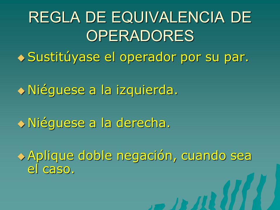 REGLA DE EQUIVALENCIA DE OPERADORES Sustitúyase el operador por su par.