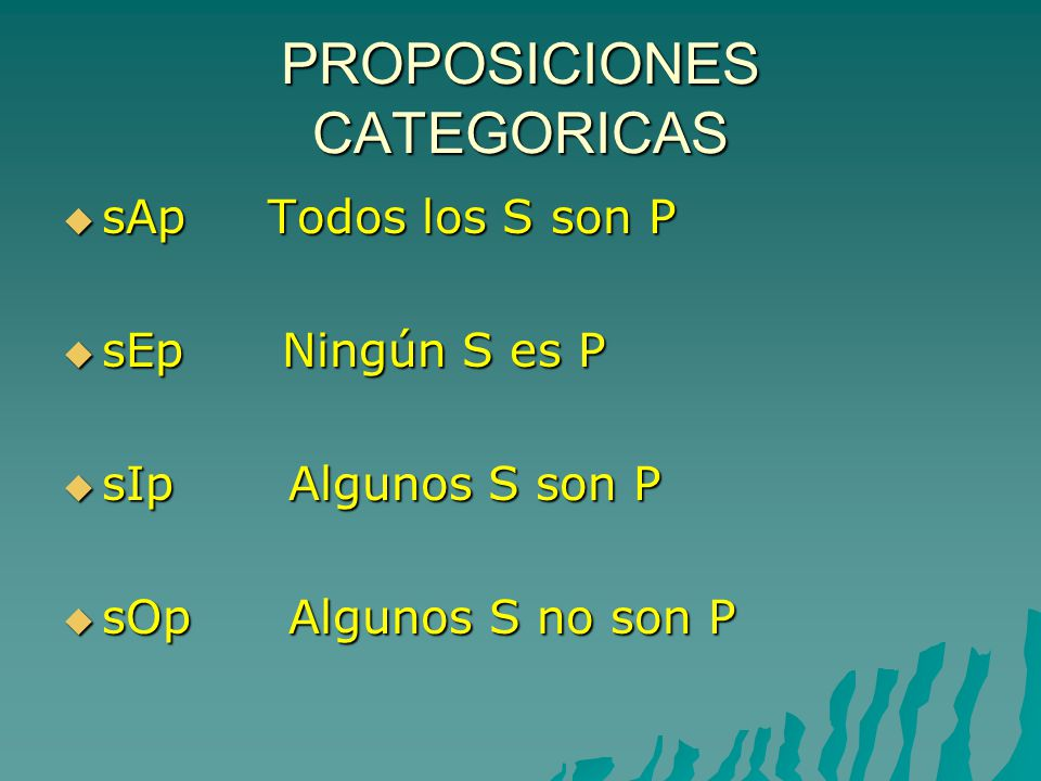 PROPOSICIONES CATEGORICAS sAp Todos los S son P sAp Todos los S son P sEp Ningún S es P sEp Ningún S es P sIp Algunos S son P sIp Algunos S son P sOp Algunos S no son P sOp Algunos S no son P