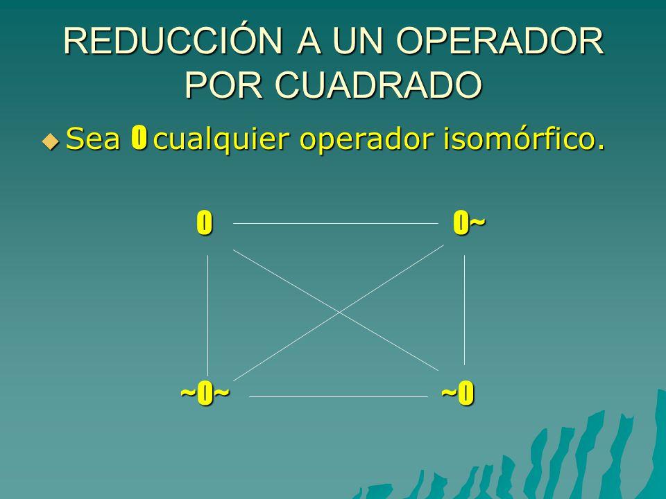 REDUCCIÓN A UN OPERADOR POR CUADRADO Sea O cualquier operador isomórfico.