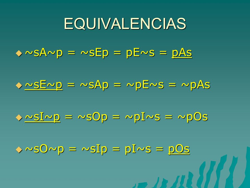 EQUIVALENCIAS ~sA~p = ~sEp = pE~s = pAs ~sA~p = ~sEp = pE~s = pAs ~sE~p = ~sAp = ~pE~s = ~pAs ~sE~p = ~sAp = ~pE~s = ~pAs ~sI~p = ~sOp = ~pI~s = ~pOs ~sI~p = ~sOp = ~pI~s = ~pOs ~sO~p = ~sIp = pI~s = pOs ~sO~p = ~sIp = pI~s = pOs
