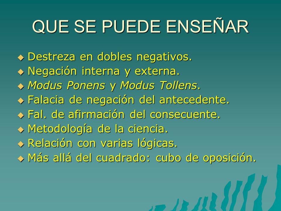 NEGACIÓN INTERNA Y NEGACIÓN EXTERNA 5 No es cierto que algunos líderes no son valientes = todos los líderes son valientes.