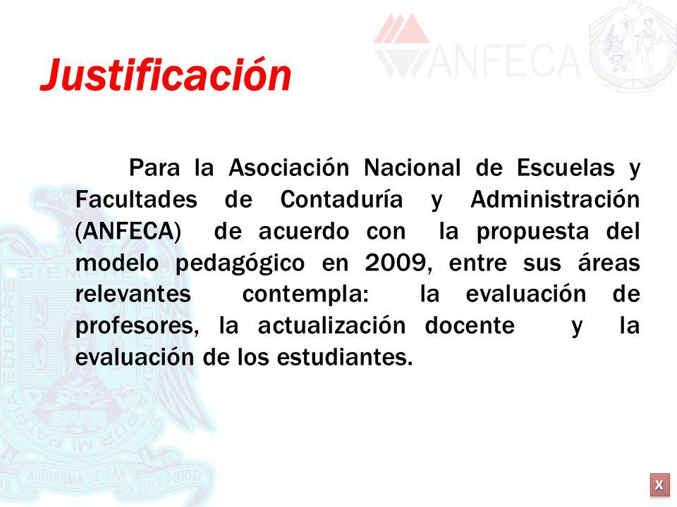 XXXX XXXX Justificación Para la Asociación Nacional de Escuelas y Facultades de Contaduría y Administración (ANFECA) de acuerdo con la propuesta del m