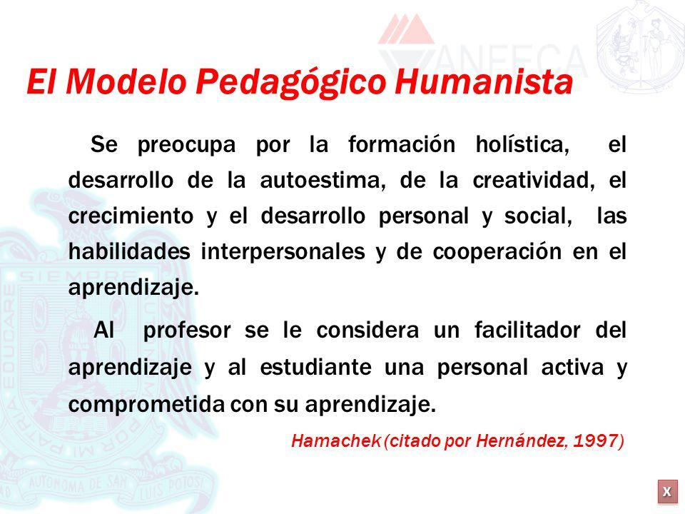 XXXX XXXX El Modelo Pedagógico Humanista Se preocupa por la formación holística, el desarrollo de la autoestima, de la creatividad, el crecimiento y e