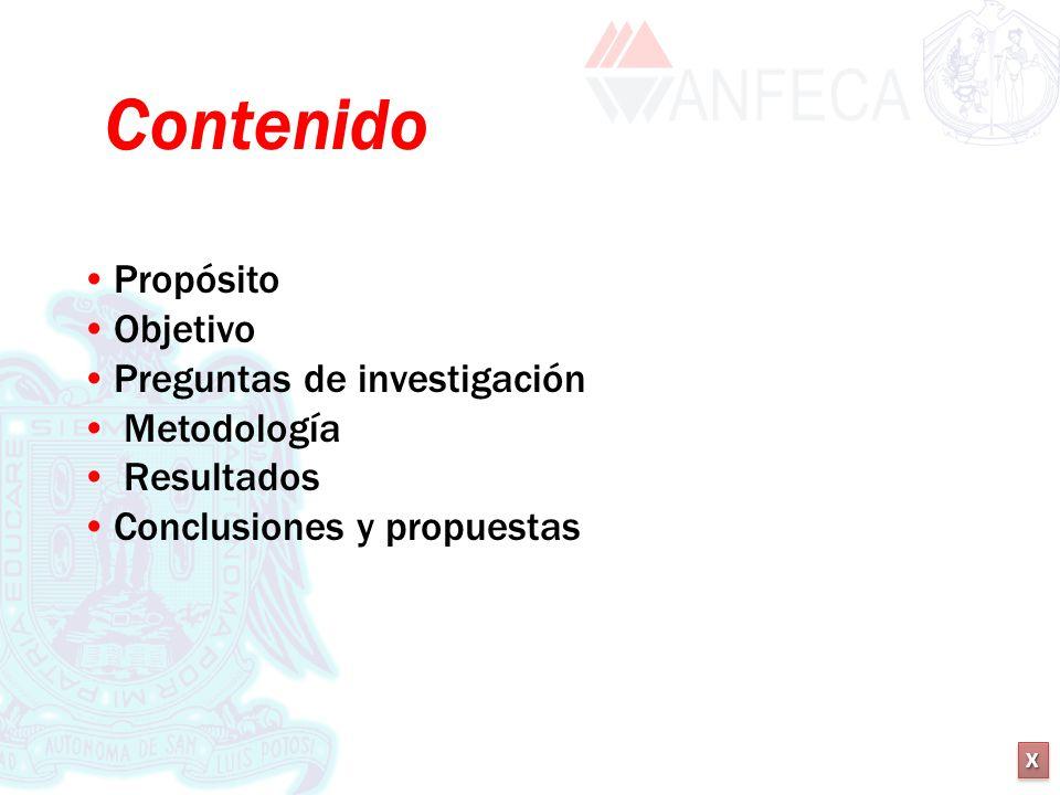 XXXX XXXX Contenido Propósito Objetivo Preguntas de investigación Metodología Resultados Conclusiones y propuestas