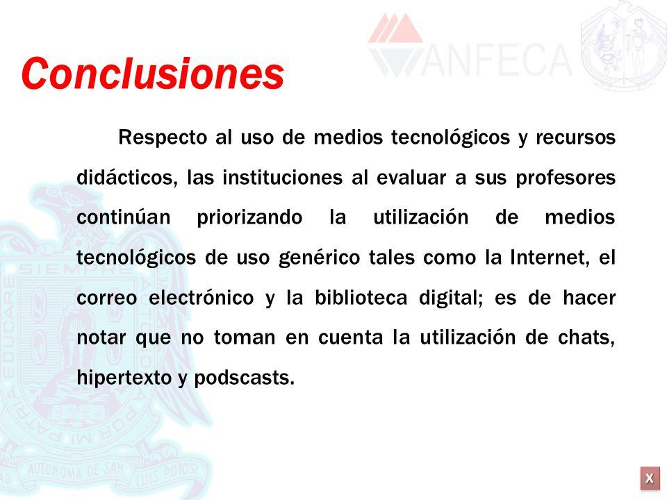 XXXX XXXX Conclusiones Respecto al uso de medios tecnológicos y recursos didácticos, las instituciones al evaluar a sus profesores continúan priorizan