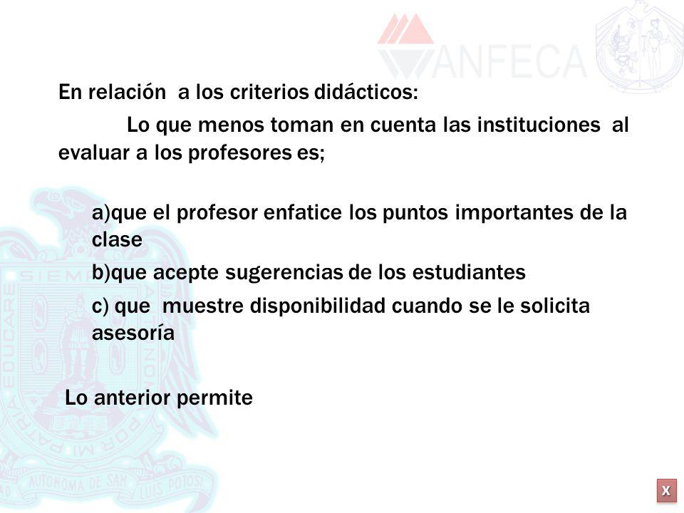 XXXX XXXX En relación a los criterios didácticos: Lo que menos toman en cuenta las instituciones al evaluar a los profesores es; a)que el profesor enf
