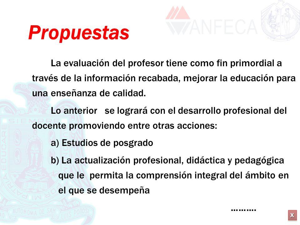 XXXX XXXX Propuestas La evaluación del profesor tiene como fin primordial a través de la información recabada, mejorar la educación para una enseñanza