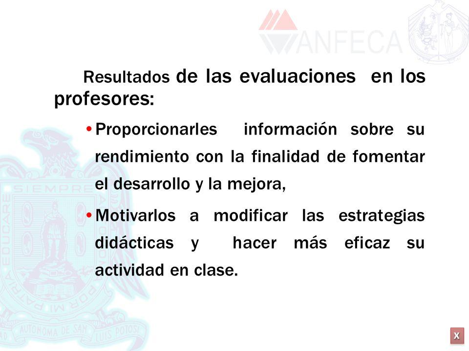 XXXX XXXX Resultados de las evaluaciones en los profesores: Proporcionarles información sobre su rendimiento con la finalidad de fomentar el desarroll