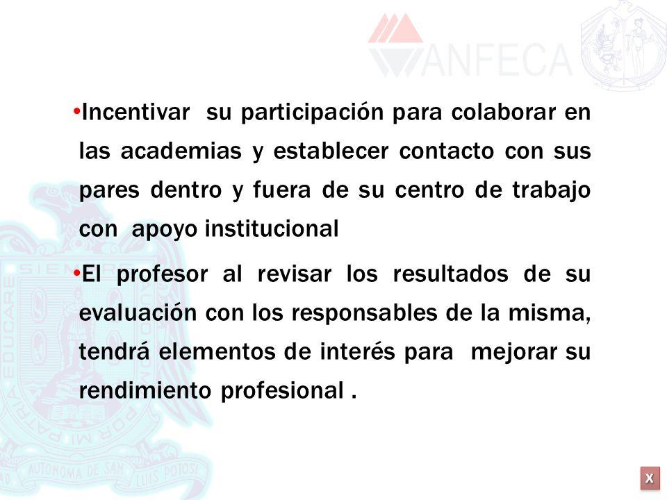 XXXX XXXX Incentivar su participación para colaborar en las academias y establecer contacto con sus pares dentro y fuera de su centro de trabajo con a