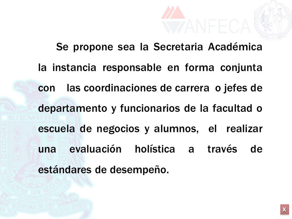 XXXX XXXX Se propone sea la Secretaria Académica la instancia responsable en forma conjunta con las coordinaciones de carrera o jefes de departamento