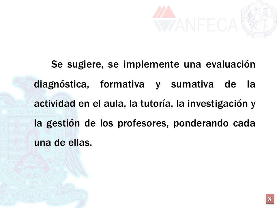 XXXX XXXX Se sugiere, se implemente una evaluación diagnóstica, formativa y sumativa de la actividad en el aula, la tutoría, la investigación y la ges