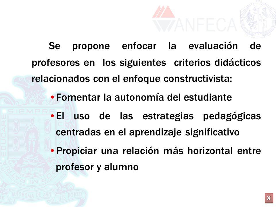 XXXX XXXX Se propone enfocar la evaluación de profesores en los siguientes criterios didácticos relacionados con el enfoque constructivista: Fomentar