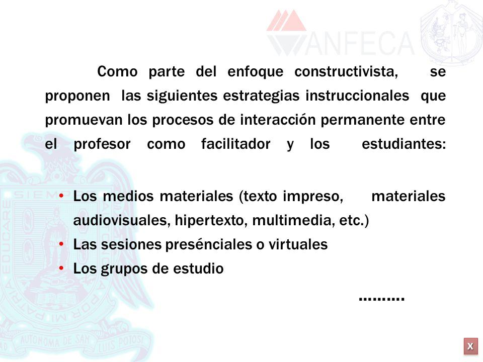 XXXX XXXX Como parte del enfoque constructivista, se proponen las siguientes estrategias instruccionales que promuevan los procesos de interacción per