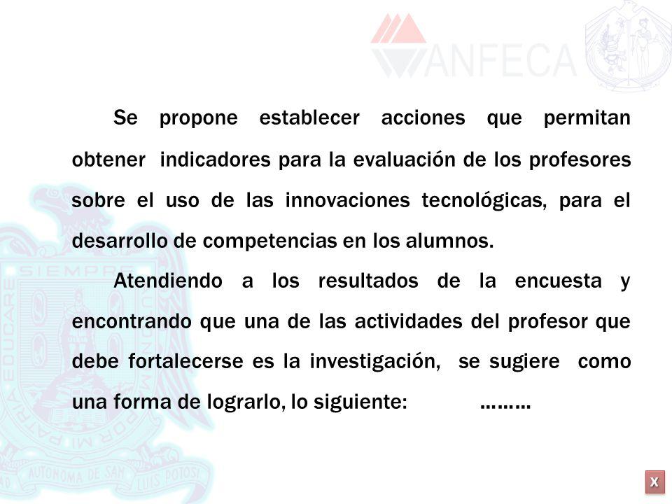 XXXX XXXX Se propone establecer acciones que permitan obtener indicadores para la evaluación de los profesores sobre el uso de las innovaciones tecnol