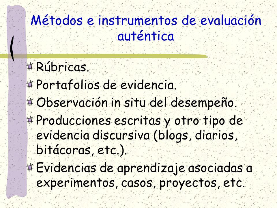 Métodos e instrumentos de evaluación auténtica Rúbricas. Portafolios de evidencia. Observación in situ del desempeño. Producciones escritas y otro tip