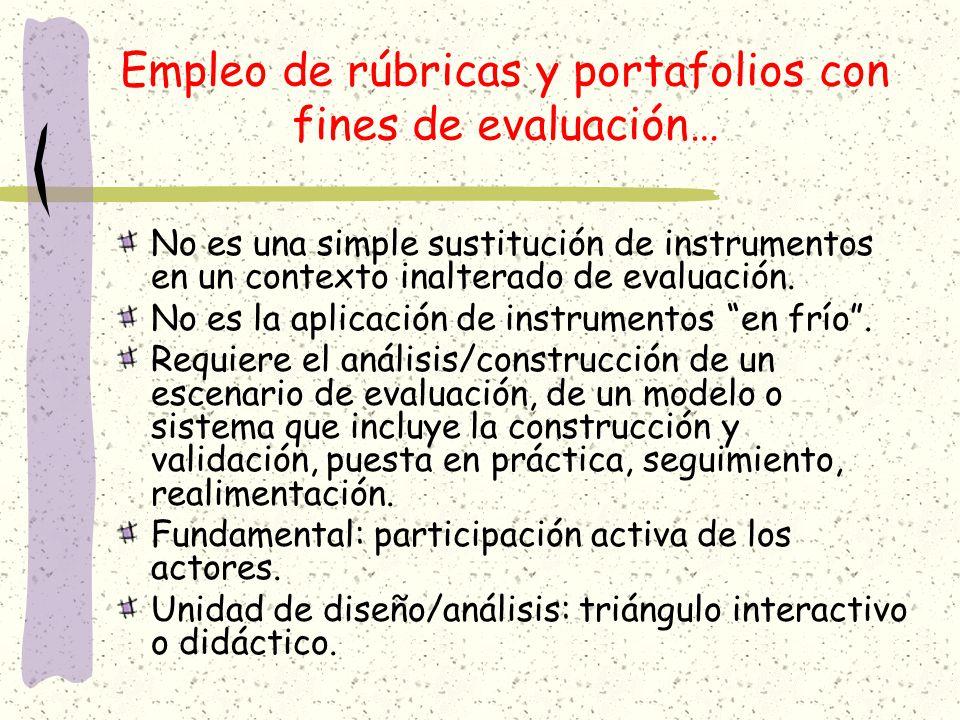 Empleo de rúbricas y portafolios con fines de evaluación… No es una simple sustitución de instrumentos en un contexto inalterado de evaluación. No es