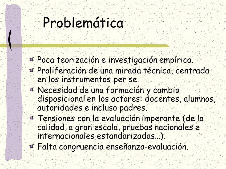 Problemática Poca teorización e investigación empírica. Proliferación de una mirada técnica, centrada en los instrumentos per se. Necesidad de una for