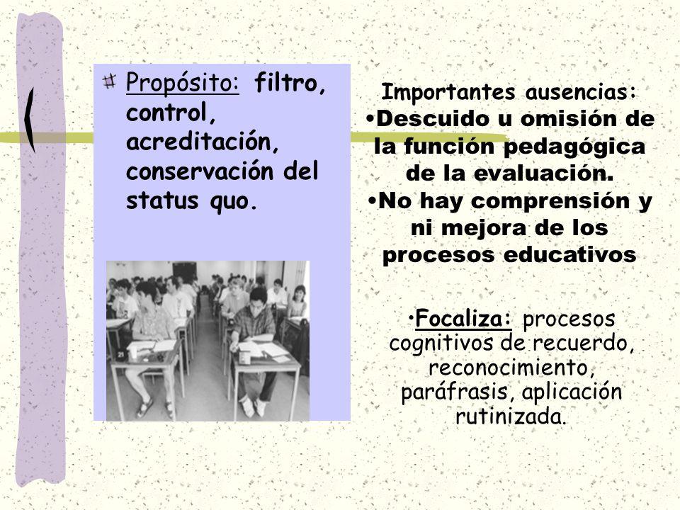 Propósito: filtro, control, acreditación, conservación del status quo. Importantes ausencias: Descuido u omisión de la función pedagógica de la evalua