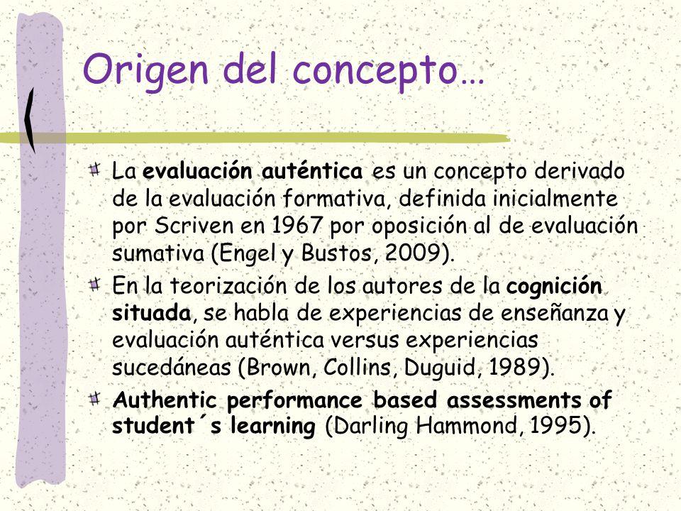 Origen del concepto… La evaluación auténtica es un concepto derivado de la evaluación formativa, definida inicialmente por Scriven en 1967 por oposici