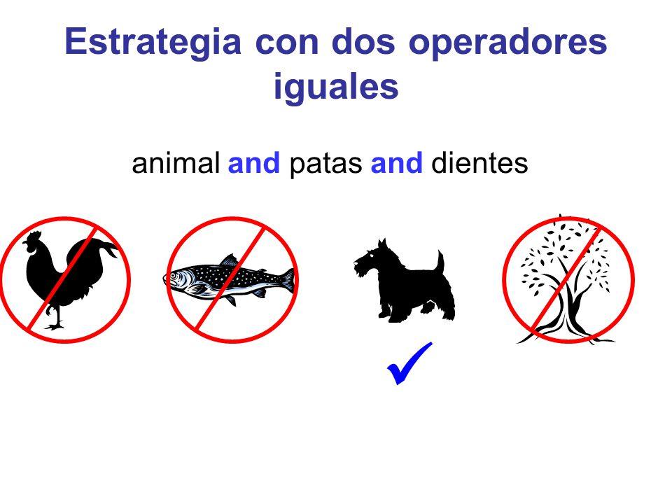 Estrategia con dos operadores iguales animal and patas and dientes