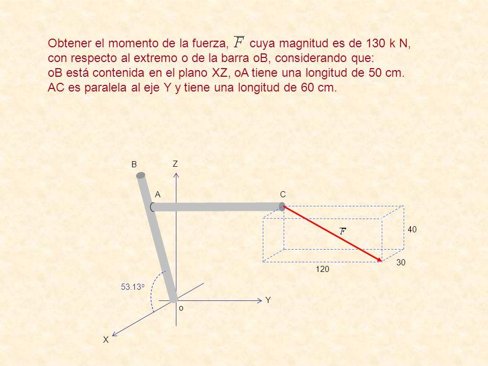 o B A C 53.13 o Z Y X 120 30 40 Obtener el momento de la fuerza, cuya magnitud es de 130 k N, con respecto al extremo o de la barra oB, considerando que: oB está contenida en el plano XZ, oA tiene una longitud de 50 cm.
