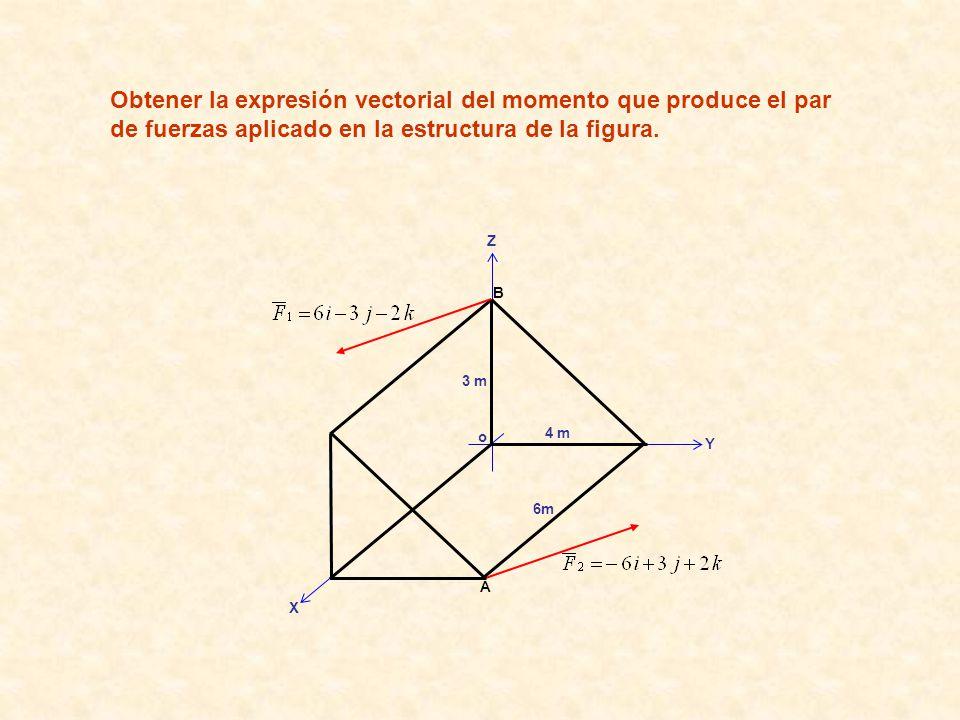 Obtener la expresión vectorial del momento que produce el par de fuerzas aplicado en la estructura de la figura.