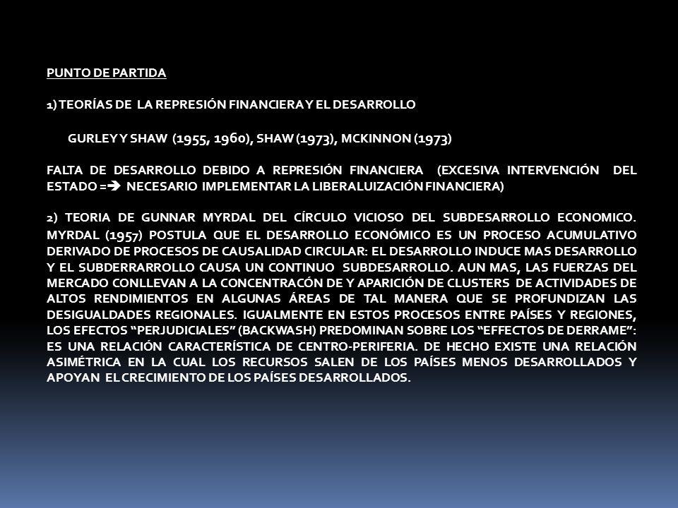 PUNTO DE PARTIDA 1) TEORÍAS DE LA REPRESIÓN FINANCIERA Y EL DESARROLLO GURLEY Y SHAW ( 1955, 1960 ), SHAW ( 1973 ), MCKINNON ( 1973 ) FALTA DE DESARROLLO DEBIDO A REPRESIÓN FINANCIERA (EXCESIVA INTERVENCIÓN DEL ESTADO = NECESARIO IMPLEMENTAR LA LIBERALUIZACIÓN FINANCIERA) 2) TEORIA DE GUNNAR MYRDAL DEL CÍRCULO VICIOSO DEL SUBDESARROLLO ECONOMICO.