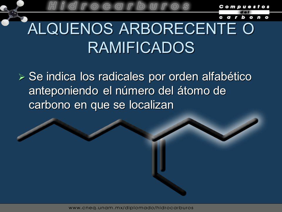 ALQUENOS ARBORECENTE O RAMIFICADOS Se indica los radicales por orden alfabético anteponiendo el número del átomo de carbono en que se localizan Se ind