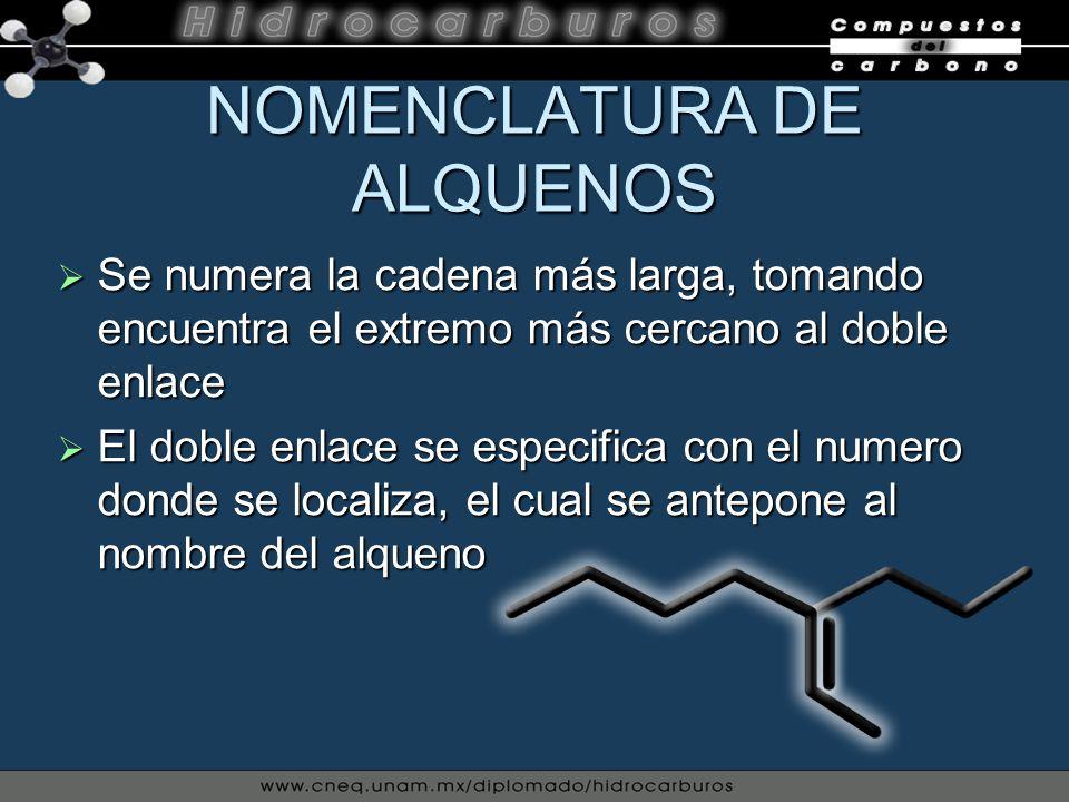 NOMENCLATURA DE ALQUENOS Cuando la molécula tiene dos o mas enlaces, la terminación del alqueno se nombra de la siguiente manera: dieno; tríenos y polienos Cuando la molécula tiene dos o mas enlaces, la terminación del alqueno se nombra de la siguiente manera: dieno; tríenos y polienos