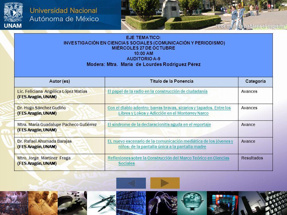 EJE TEMATICO: INVESTIGACIÓN EN CIENCIAS SOCIALES (COMUNICACIÓN Y PERIODISMO) MIÉRCOLES 27 DE OCTUBRE 10:00 AM AUDITORIO A-9 Modera: Mtra. María de Lou