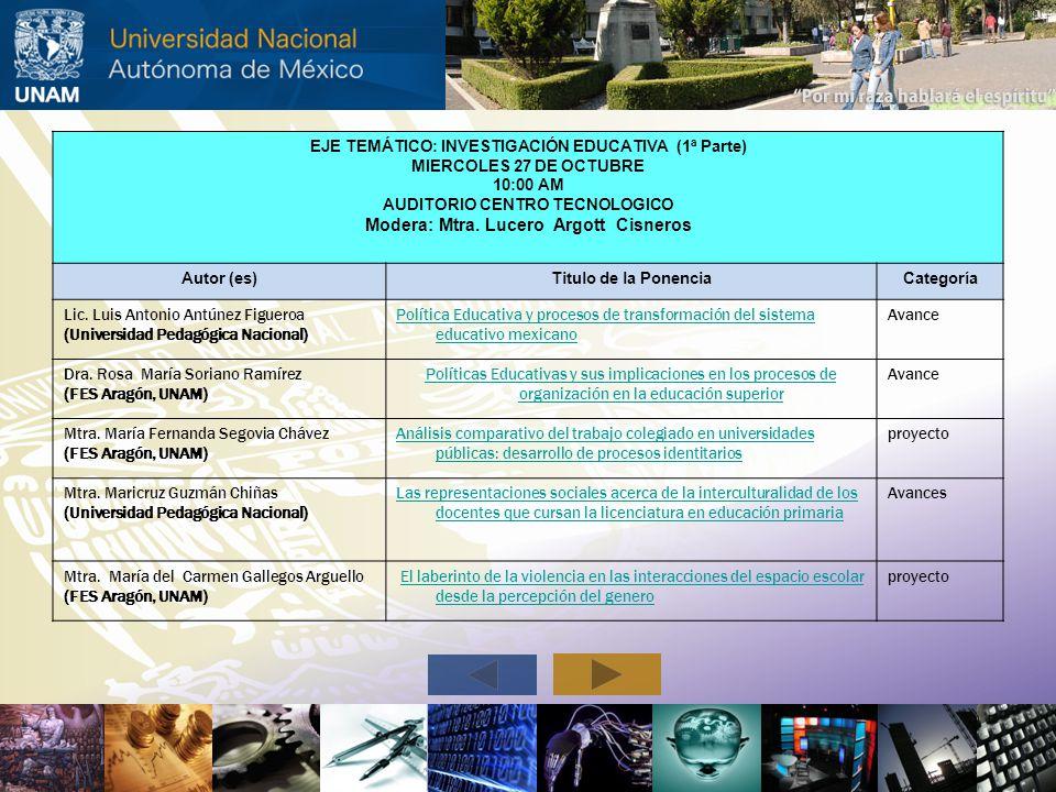 EJE TEMÁTICO: INVESTIGACIÓN EDUCATIVA (1ª Parte) MIERCOLES 27 DE OCTUBRE 10:00 AM AUDITORIO CENTRO TECNOLOGICO Modera: Mtra. Lucero Argott Cisneros Au
