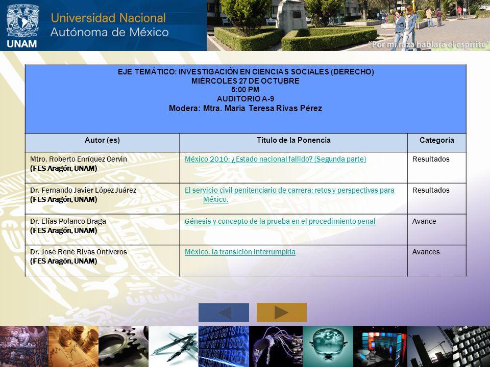 EJE TEMÁTICO: INVESTIGACIÓN EN CIENCIAS SOCIALES (DERECHO) MIÉRCOLES 27 DE OCTUBRE 5:00 PM AUDITORIO A-9 Modera: Mtra. María Teresa Rivas Pérez Autor