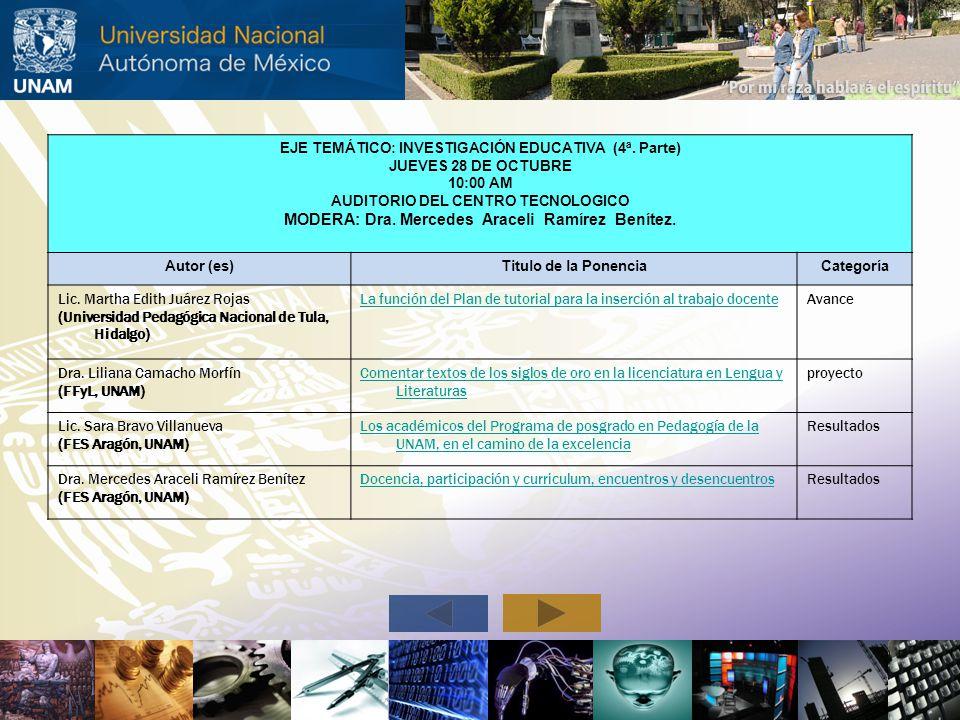 EJE TEMÁTICO: INVESTIGACIÓN EDUCATIVA (4ª. Parte) JUEVES 28 DE OCTUBRE 10:00 AM AUDITORIO DEL CENTRO TECNOLOGICO MODERA: Dra. Mercedes Araceli Ramírez