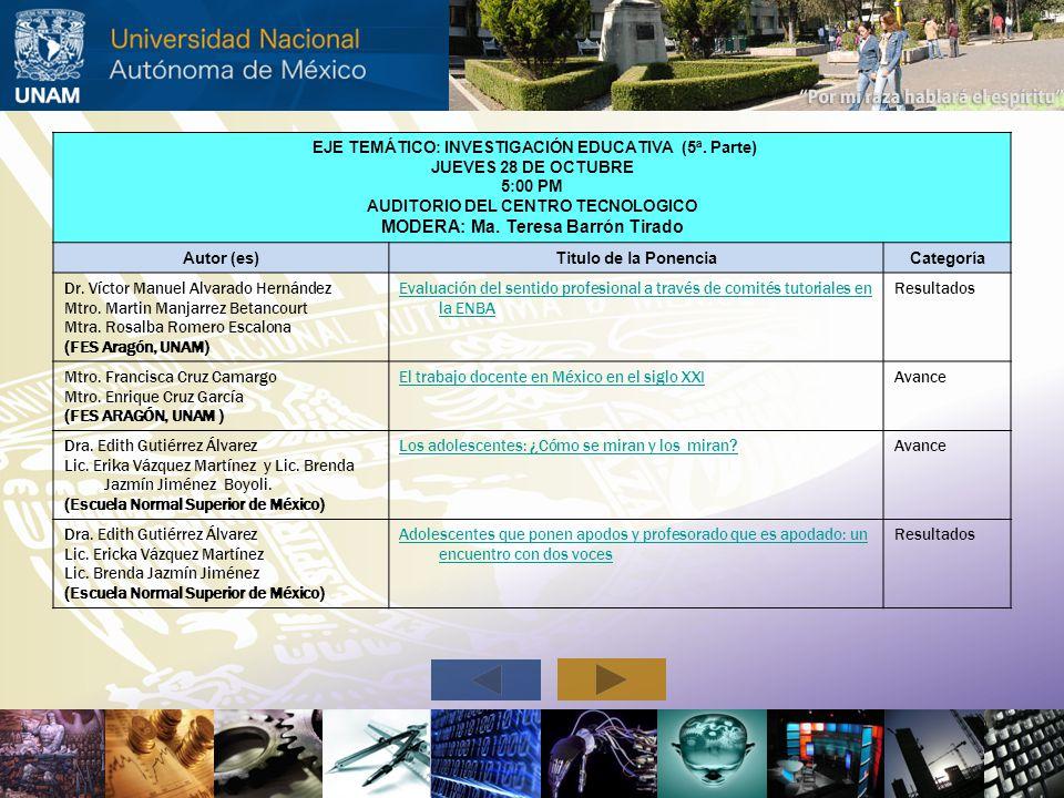 EJE TEMÁTICO: INVESTIGACIÓN EDUCATIVA (5ª. Parte) JUEVES 28 DE OCTUBRE 5:00 PM AUDITORIO DEL CENTRO TECNOLOGICO MODERA: Ma. Teresa Barrón Tirado Autor