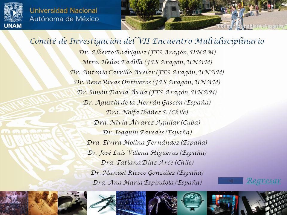 Comité de Investigación del VII Encuentro Multidisciplinario Dr. Alberto Rodríguez (FES Aragón, UNAM) Mtro. Helios Padilla (FES Aragón, UNAM) Dr. Anto