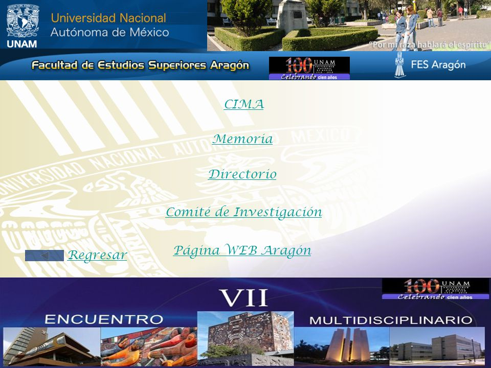 Memoria Directorio Comité de Investigación Página WEB Aragón CIMA Regresar