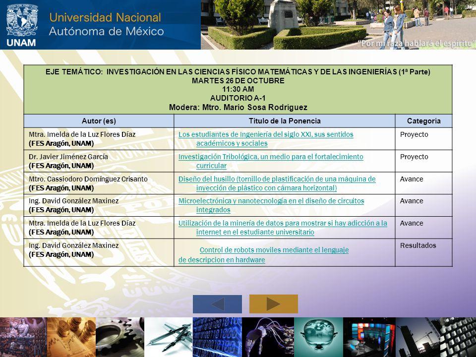 EJE TEMÁTICO: INVESTIGACIÓN EN LAS CIENCIAS FÍSICO MATEMÁTICAS Y DE LAS INGENIERÍAS (1ª Parte) MARTES 26 DE OCTUBRE 11:30 AM AUDITORIO A-1 Modera: Mtr