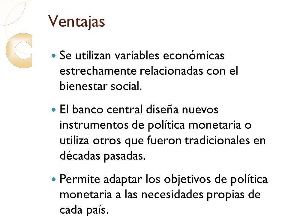 Ventajas Se utilizan variables económicas estrechamente relacionadas con el bienestar social. El banco central diseña nuevos instrumentos de política