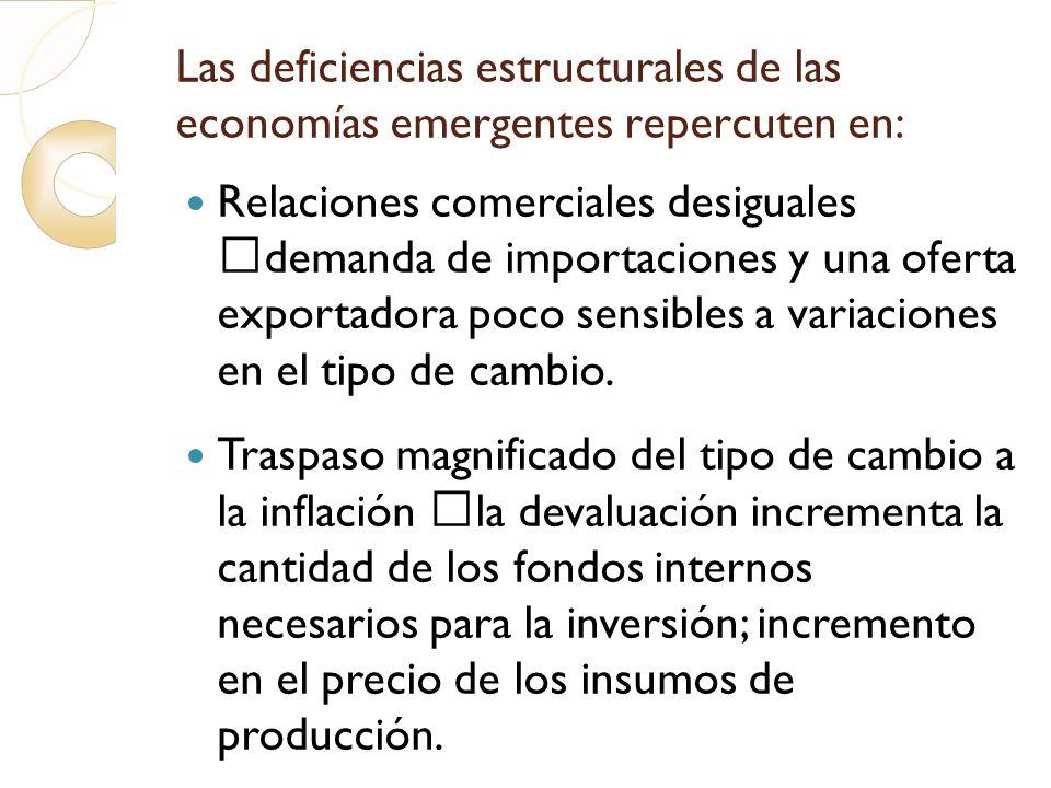 Las deficiencias estructurales de las economías emergentes repercuten en: Relaciones comerciales desiguales demanda de importaciones y una oferta expo