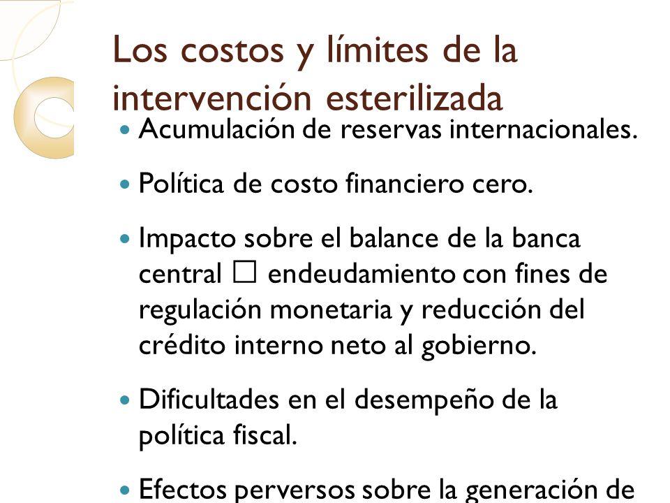 Los costos y límites de la intervención esterilizada Acumulación de reservas internacionales. Política de costo financiero cero. Impacto sobre el bala