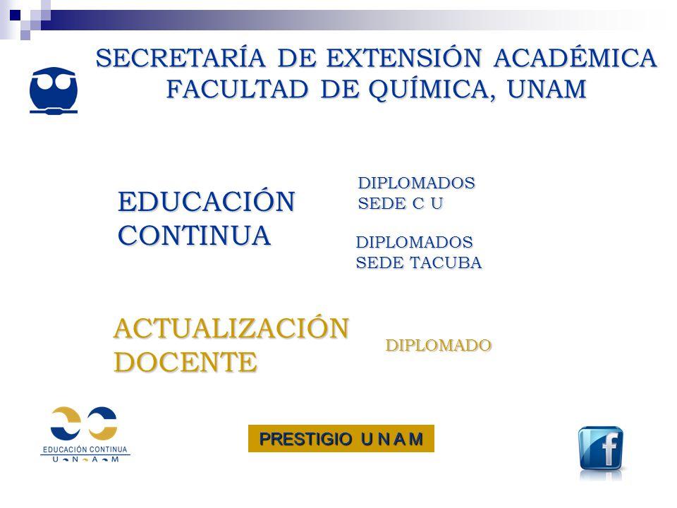 SECRETARÍA DE EXTENSIÓN ACADÉMICA FACULTAD DE QUÍMICA, UNAM SECRETARÍA DE EXTENSIÓN ACADÉMICA FACULTAD DE QUÍMICA, UNAM EDUCACIÓN CONTINUA EDUCACIÓN C
