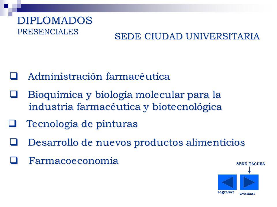 SEDE CIUDAD UNIVERSITARIA DIPLOMADOS regresar SEDE TACUBA avanzar Administración farmacéutica Administración farmacéutica Administración farmacéutica