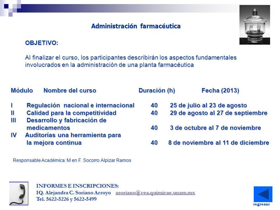 Módulo Nombre del curso Duración (h) Fecha (2013) I Regulación nacional e internacional40 25 de julio al 23 de agosto II Calidad para la competitivida